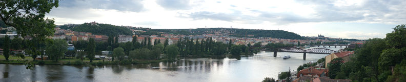 Prague panorama (Vysehrad). The Vltava is the longest river in the Czech Republic, running north from its source in Šumava through Český Krumlov, České Bud Stock Photo