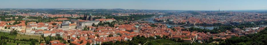 Prague panoramautsikt Arkivbilder