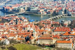 Prague panoramic aerial view of the cityscape with Charles bridge and Vltava river, Czech Republic Royalty Free Stock Photo
