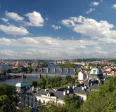 Prague - Panoramic view and Charles Bridge Royalty Free Stock Photos