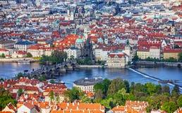 Prague panoramic view, Charles bridge, Czech Republic. River Vlt Stock Photos
