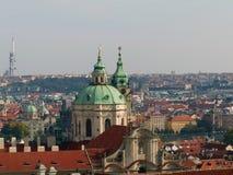 Prague. Panoramic view of Prague with Church of St. Nicholas Royalty Free Stock Photo