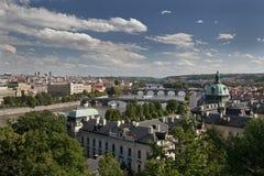 Prague - panoramic view with Vltava River Royalty Free Stock Photo