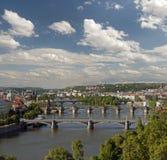 Prague - panoramic view with Vltava River Stock Image