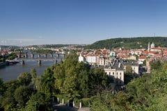 Prague - panoramic view with Vltava River Royalty Free Stock Image