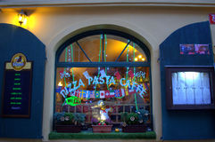 Prague pizzeria window Royalty Free Stock Image
