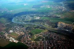Prague from plane. View at country from plane, horizontally framed shot royalty free stock photography