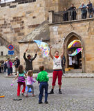 Prague, playing with soap bubbles Stock Photography