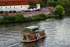 Prague - A pleasure boat for tourists Stock Images