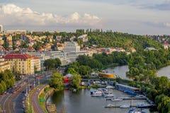 Prague - Podoli Quarter. Vltava River and Water Filtration Station Stock Image