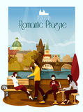Prague Poster Illustration Royalty Free Stock Images