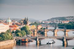 Prague. City center view with river and 3 bridges Royalty Free Stock Photography