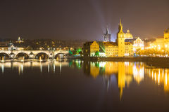 Prague (Praha) panorama at night Royalty Free Stock Images