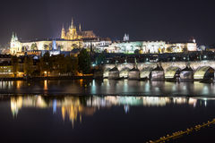 Prague (Praha) panorama at night Stock Images