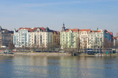 Prague quay, view from Jiraskuv bridge Royalty Free Stock Image