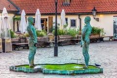 Prague, République Tchèque - 18 août 2018 : Sculpture en fontaine photos libres de droits