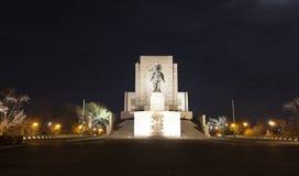 PRAGUE, RÉPUBLIQUE TCHÈQUE - 21 DÉCEMBRE 2015 : Photo de statue équestre de Jan Zizka sur la colline de Vitkov Image stock