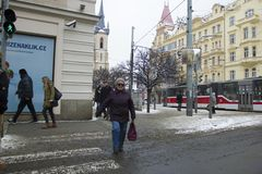 Prague, République Tchèque - 10 janvier 2017 jour habituel dans la ville Images libres de droits
