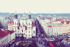 Prague, République Tchèque - 27 janvier 2014 : Vieille place de Prague avec un point de vue élevé Images stock