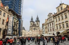 Prague ; République Tchèque ; Le 18 octobre 2017 : La vieille ville de Prague carrée Image libre de droits