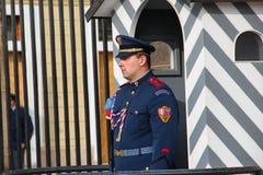 PRAGUE, RÉPUBLIQUE TCHÈQUE - 26 octobre 2015 : Soldat de garde de château de Prague d'élite devant l'entrée de château de Prague, Image stock