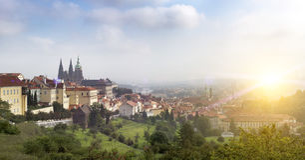 Prague, République Tchèque Panorama de la vieille ville photo stock