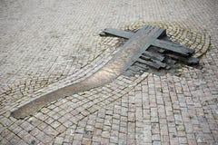 PRAGUE, RÉPUBLIQUE TCHÈQUE - 16 SEPTEMBRE 2014 : Mémorial mémorable de Jan Palach de croix chez Wenceslas Square à Prague image libre de droits