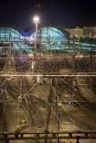 Prague Railway Station at night. Night scene of the jumble of train tracks as they approach Hlavni Nadrazi station, the main train terminal in the Czech Republic royalty free stock photo