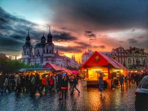 Prague in raining day Stock Images