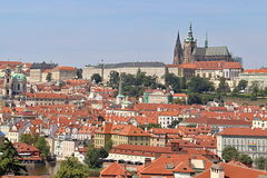 Prague Red Roofs and Castle, Czech republic Stock Photography