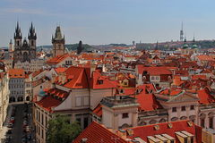 Prague Red Roofs and Castle, Czech republic Royalty Free Stock Images