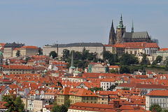 Prague Red Roofs and Castle, Czech republic Royalty Free Stock Photography
