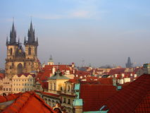 Prague red roofs and Old Town Square Royalty Free Stock Image