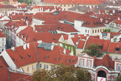 Prague red roofs. City landscape of European town Royalty Free Stock Images