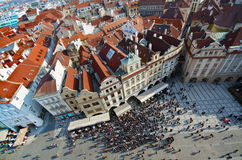 Prague, red tiled roof tops, Old Town Square Royalty Free Stock Images