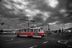 Prague. A red tram in Prague stock images