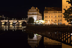 Prague Reflections. Prague night Charles bridge reflections Stock Image