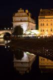Prague Reflections. Prague night Charles bridge reflections Stock Photos