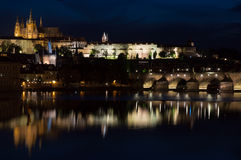 Prague Reflections. Prague night Charles bridge reflections castle Stock Images