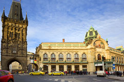Prague. On the Republic square. Royalty Free Stock Photos