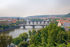 Prague river and bridges Royalty Free Stock Image