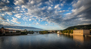 Prague River from the charles bridge Royalty Free Stock Photo