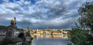 Prague River from the charles bridge Stock Images