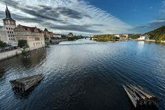 Prague River from the charles bridge Stock Photo