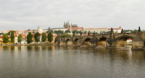 Prague River and City Panorama Stock Photography