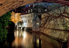 Prague River. Devil influx Vltava. The picture was taken at night under the arches of the Charles Bridge on prolonged exposure Royalty Free Stock Images