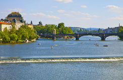 Prague, river Moldau Royalty Free Stock Photo