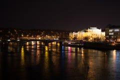 Prague river by night Royalty Free Stock Image
