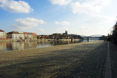 Prague riverbank under Vysehrad Royalty Free Stock Photography