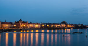 Prague riverfront at night Royalty Free Stock Photos